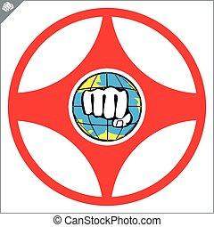 kanku karate kyokushinkai logo simbol. vector eps - karate...