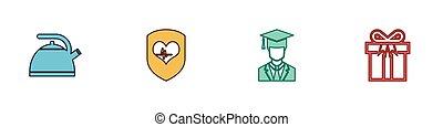 kanna, tehetség, fokozatokra osztás, állhatatos, szív, fogantyú, diplomás, arány, doboz, sapka, pajzs, vektor, icon.