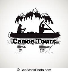 kano, tours, label., to, mand, ind, en, båd, hos, reflektion, ind, den, flod, bjerge, og, skov, landskab., vektor