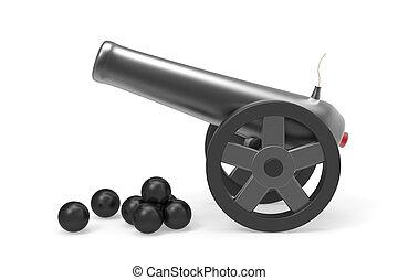 kanon, met, black , bombarderen