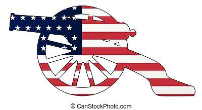 kanon, oorlog, silhouette, yankee, vlag, civiel