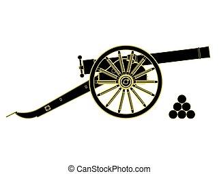 kanone, vektor, th, century., 18