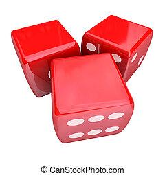 kans, dobbelsteen, ruimte, boeiend, casino, drie, 3, spel, rood, leeg, wikkeling, kopie, gokken