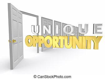 kans, gelegenheid, optie, deur, uniek, illustratie, keuze, bijzondere , 3d