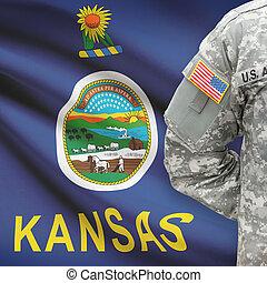 kansas, -, állam, bennünket, katona, lobogó, háttér, amerikai