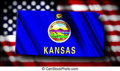 Kansas 03 - Flag of Kansas in the shape of Kansas state with...