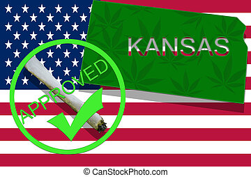 kansas, auf, cannabis, hintergrund., droge, policy., legalization, von, marihuana, auf, usa markierung