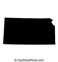 Kansas black map on white background - U.S. state Kansas...