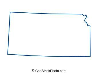 kansas carte, résumé, contour, bleu