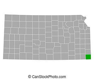 kansas, cherokee, mapa