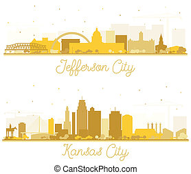 Kansas City and Jefferson City Missouri Skyline Silhouettes Set with Golden Buildings Isolated on White.
