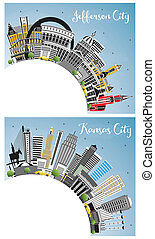 Kansas City and Jefferson City Missouri Skylines with Color Buildings, Blue Sky and Copy Space.