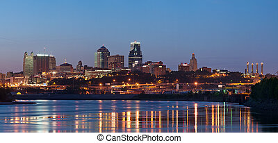 kansas city, contorno, panorama.