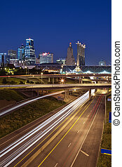Kansas City. - Image of the Kansas City skyline and busy ...