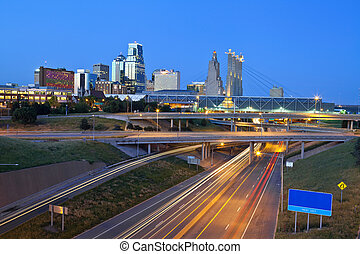 Kansas City. - Image of the Kansas City skyline and busy...