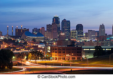 Kansas City. - Image of the Kansas City skyline at sunrise.