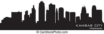 Kansas City, Missouri skyline. Detailed vector silhouette