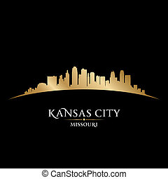Kansas city Missouri skyline silhouette black background -...