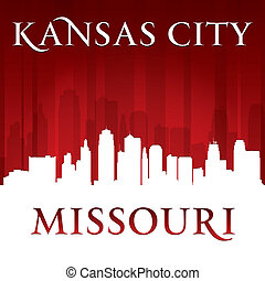 Kansas city Missouri skyline silhouette red background -...