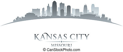 Kansas city Missouri skyline silhouette white background -...
