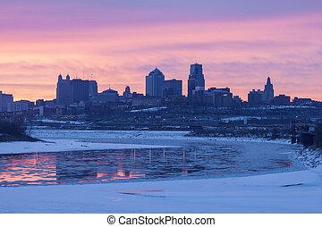 Kansas City panorama at sunrise