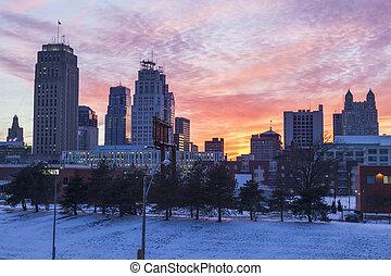Kansas City panorama at sunset