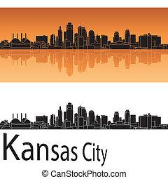 Kansas City skyline in orange background in editable vector...