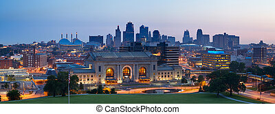 kansas city, skyline, panorama.