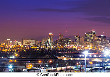 Kansas City Skyline with Kit Bond Bridge