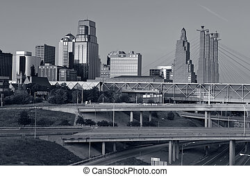 Kansas City. - Toned image of the Kansas City skyline.