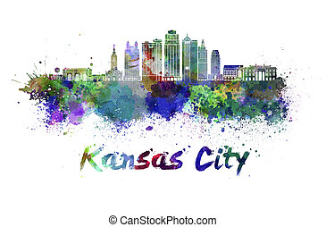 Kansas City V2 skyline in watercol - Kansas City V2 skyline...