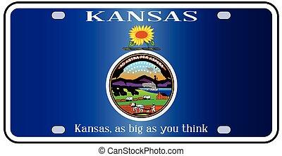 Kansas Flag License Plate - Kansas state license plate in...
