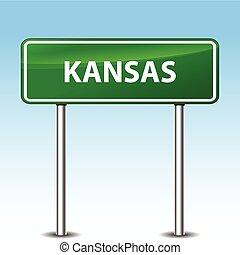 kansas green sign - Illustration of kansas green metal road...