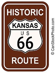 Kansas Historic Route 66 traffic sign with the legend HISTORIC ROUTE US 66