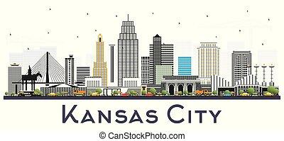 kansas, isolato, missouri, colorare, costruzioni, orizzonte, città, white.