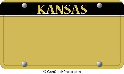 A Kansas license plate design isolated on a white background