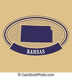 Kansas map silhouette - stamp