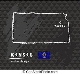 Kansas map, vector pen drawing on black background
