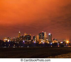 kansas, misuri, glowy, ciudad, skyscape