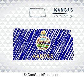 Kansas national vector map with sketch chalk flag. Sketch chalk hand drawn illustration