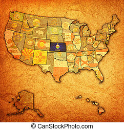 kansas on map of usa - kansas on old vintage map of usa with...