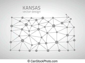 Kansas outline vector map