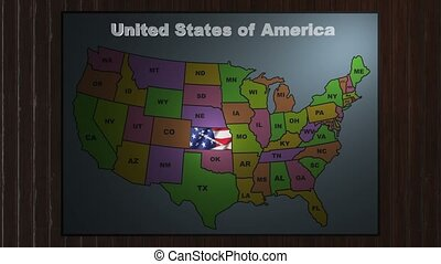 Kansas pull out from USA states abbreviations map