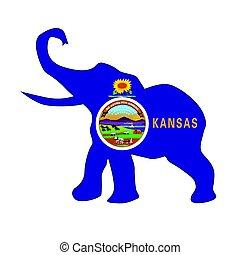 Kansas Republican Elephant Flag