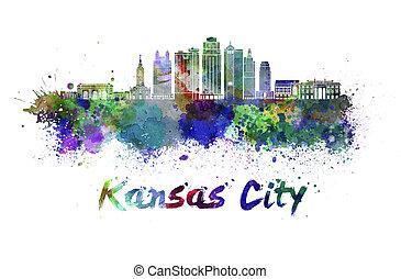 kansas, skyline, cidade, v2, watercol