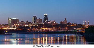 kansas, skyline, stadt, panorama.