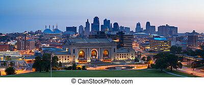 kansas stad, skyline, panorama.