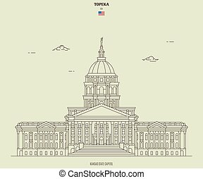 Kansas State Capitol in Topeka, USA. Landmark icon in linear style