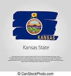 Kansas State Flag with colored hand drawn lines in Vector Format