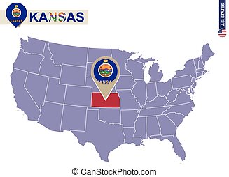 Kansas State on USA Map. Kansas flag and map.